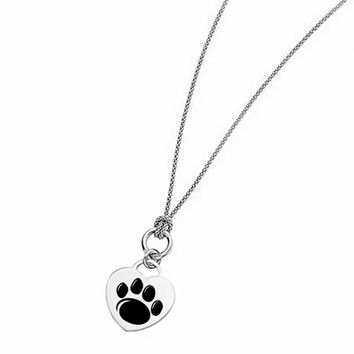 Buy Penn State Nittany Lions Heart Necklace With Popcorn Link Chain. College Jewelry