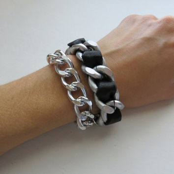 Thick and Chunky Matte Silver and Genuine Leather Woven Chain Link Bracelet - Large Curb Link Stacking Bracelet