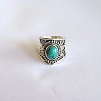 Statement Ring, Turquoise Silver Ring, Ethnic Style Ring, Bohemian Sterling Silver Ring, Cocktail Ring, Chunky Ring, Jewelry, 925 Sterling