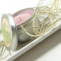 Scented Soy Candle, Pink Lilac and Willow scented Soy Candle Tin -- 8 ounce Tin
