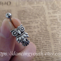 Silver Owl Charm Belly Button Ring, Crystal Belly Ring,