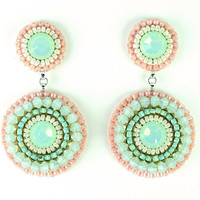 Mint peach earrings - mint coral pink swarovski crystal chandelier earrings - bridal wedding bridesmaids statement jewelry unique gift