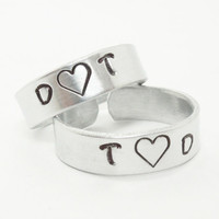 Personalized couples rings - His and hers rings - Name rings - Boyfriend girlfriend rings - Silver tone aluminum rings