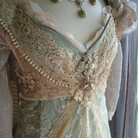 "Original Handmade Vintage Inspired Cinderella ""Ever After Breathe"" Wedding gown Victorian Empire Style"