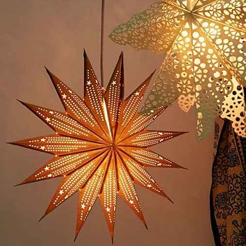 Pointed Cutout Star Paper Lantern - Gold One