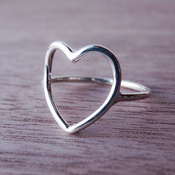 Sterling Silver Heart Ring - Open Heart