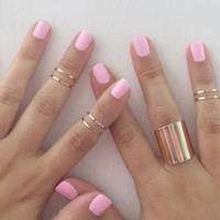 Set of 6 rose gold stacking rings with 1 tube ring - Gold rose ring, Knuckle Ring, 6 midi rose gold rings, Gold rose tube ring, Gold jewelry