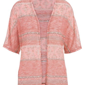 Apricot Lightweight Ethnic Print Open Front Cardigan - Pink
