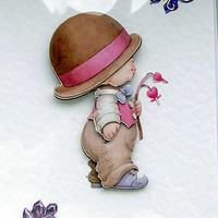 """Hand Crafted 3D Decoupage Card, Blank for any Occasion (1839) """"I'm sorry"""""""