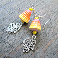 Hamsa Earrings - Hand of Fatima Jewelry - Paper bead Jewelry - Upcycled, Recycled, Repurposed - Bohemian Jewelry