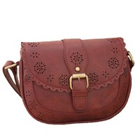 MapleClan Pastoral Style Retro Hollowed Single-shoulder Bag/Messenger Bag Brown