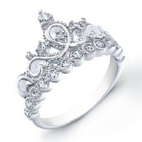 925 Sterling Silver Princess Crown Ring, Size 7