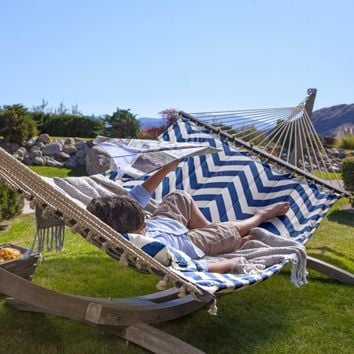 Island Bay 13 ft. Harbor and Cream Chevron Stripe Quilted Hammock | www.hayneedle.com