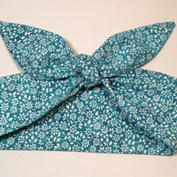 Dolly Headband, Tie-Up Hairband, Turquoise, Teal Batik with Small White Flowers - READY TO SHIP!