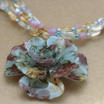 Gemstone Beaded Necklace with Floral Focal by LesleyPridgen