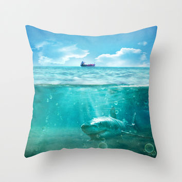 Blue Throw Pillow by SensualPatterns