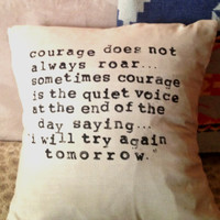 Linen Pillow Cover with Hand-Stamped Quote
