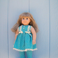 Turquoise Doll Pants outfit with Lace Trim for 18 inch Dolls