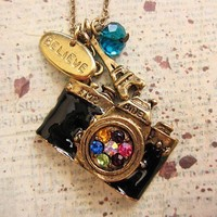 Vintage Style Camera Necklace with believe by trinketsforkeeps