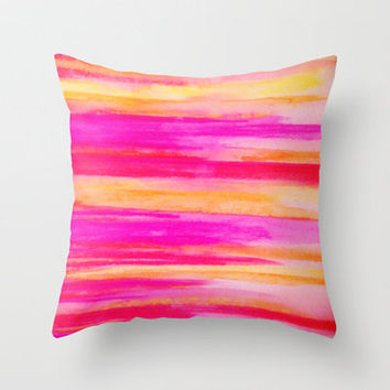 Welcome to Funky Town - Disco Inferno Dance Party Bold Rainbow Stripes Abstract Watercolor Painting Throw Pillow by EbiEmporium   Society6