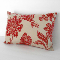 Red Floral Pillow Cover Linen Bolster 12 X 16 inches