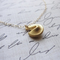 Gold fortune cookie necklace - fortune cookie on gold filled necklace