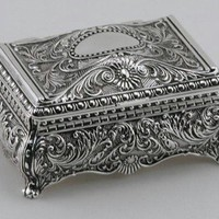 ORNATE RECTANGULAR BOX - ORNATE RECTANGULAR BOX, SILVER PLATED.