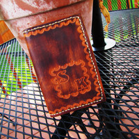 vintage hand tooled distressed wallet. initials S K. iPhone case. distressed wallet. distressed phone case. truckers wallet. southwestern