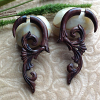 """Fake Gauge Earrings, """"Ivy"""" Naturally Organic, Sono Wood, Hand Carved, Tribal"""