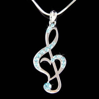 Baby Blue Swarovski Crystal TREBLE G CLEF Love Music Musical Note Heart Pendant Necklace