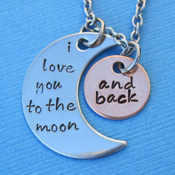I Love You to the Moon and Back Necklace with Lobster Clasp - Custom Mommy Necklace Anniversary Birthday Wedding Mother's Day