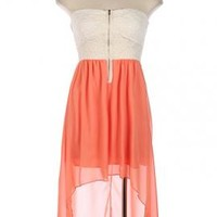 Summer Memories Lace Strapless Sweetheart High Low Dress in Coral   Sincerely Sweet Boutique