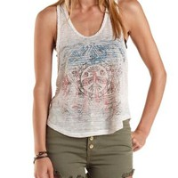 Oatmeal Sheer-Striped Thunderbird Graphic Tank Top by Charlotte Russe
