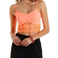 Crochet-Trim Neon Crop Top by Charlotte Russe