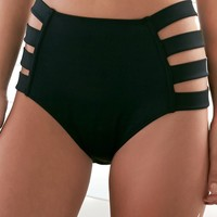 LA Hearts Strap Side High Rise Bikini Bottom - Womens Swimwear - Black