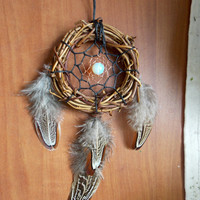 SALE Small Boho Dream Catcher with Opalite and Pheasant Feathers // Hippie Home Office Car Decor