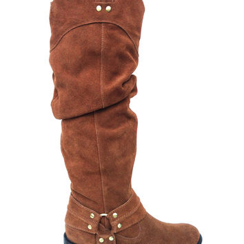Fashionable Slouchy Genuine Suede Riding Boot In Whiskey|Thirteen Vintage