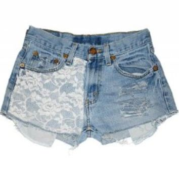 Women's Lace Marilyn High Rise Wrangler Cutoff Denim Jean Shorts Ripped