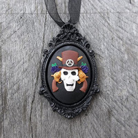 Skull & Guns Cameo in Victorian-Style Picture Frame Cameo Necklace, Crafted Full Color Cameo in Black Frame