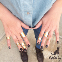 Galisfly Gold Stack Ring Box - gold knuckle rings gold tube rings and gold midi rings