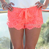 PRE ORDER - ONE FINE DAY LACE SHORTS (Expected Delivery 31st March, 2014) , DRESSES, TOPS, BOTTOMS, JACKETS & JUMPERS, ACCESSORIES, 50% OFF SALE, PRE ORDER, NEW ARRIVALS, PLAYSUIT, COLOUR, GIFT VOUCHER,,SHORTS,LACE,Orange Australia, Queensland, Brisbane
