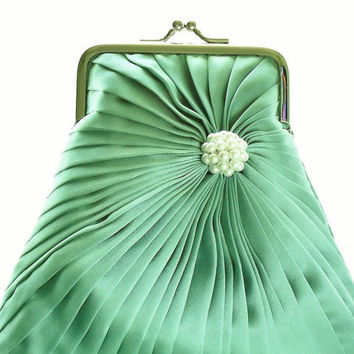 Aqua Green Beaded Purse Size Small  Ready To by HeidiCreations