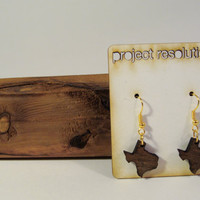 Texas Wooden State Shaped Earrings by ProjectResolution on Etsy