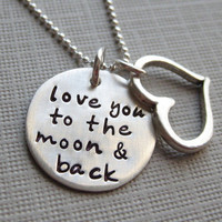 Love you to the moon and back necklace  by jcjewelrydesign on Etsy