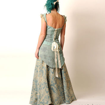 Recycled Eco Wedding Gown with swallowtail laceup light by Malam