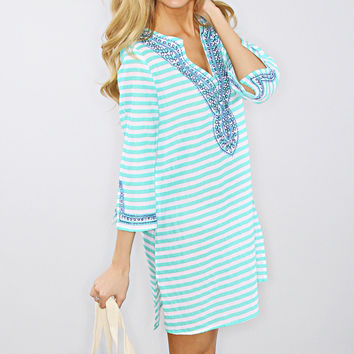 brooklyn cover up tunic - turquoise