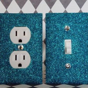 PEACOCK Glitter Switch Plate Outlet Covers, SET OF 2, ALL Styles Available!