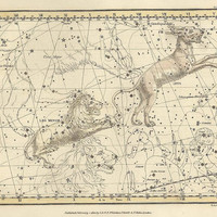 Constellations of the Leo minor and Lynx, Galaxy, Antique map of the Moon, Antique world maps, ancient maps, 43