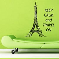 Wall Decals Vinyl Decal Sticker Home Interior Design Art Mural Quote Keep Calm And Travel On Eiffel Tower Paris Kids Baby Room Decor KT79