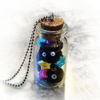 Soot sprites in a bottle necklace, Spirited away geek necklace, anime necklace, anime jewelry